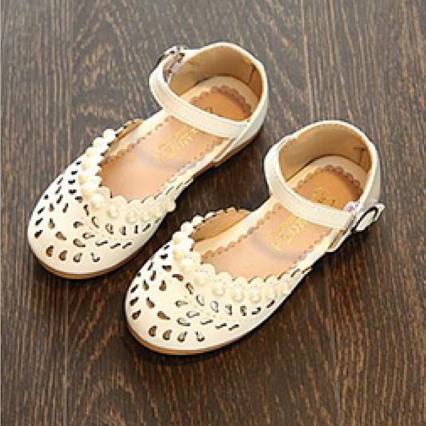 【Jingle】法國氣質公主簍空包頭鞋(珍珠米白兒童款)