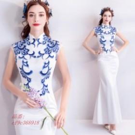 チャイナドレス ロング丈 マーメイドドレス 30代 着痩せ ホワイト 刺繍 お洒落 イブニングドレス 40代 パーティードレス 二次会 お呼ばれ