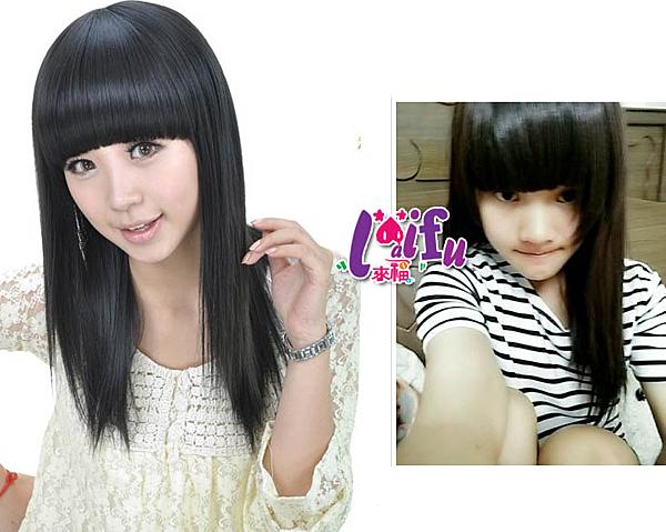 得來福,W48假髮星月可愛妹妹直髮頭假髮女氣質修臉假發,售價399元