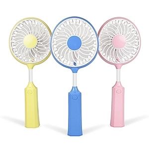 【aibo】USB充電式 羽球拍造型 手持隨身風扇(FAN-42)粉紅