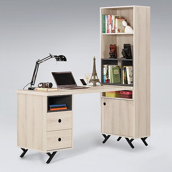 【艾木家居】肯恩5尺L型組合書桌櫃-雪松色