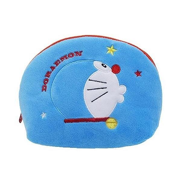 【日本進口正版】哆啦A夢 DORAEMON 藍色款 半月型 化妝包 收納包 筆袋 鉛筆盒 小叮噹 - 150618