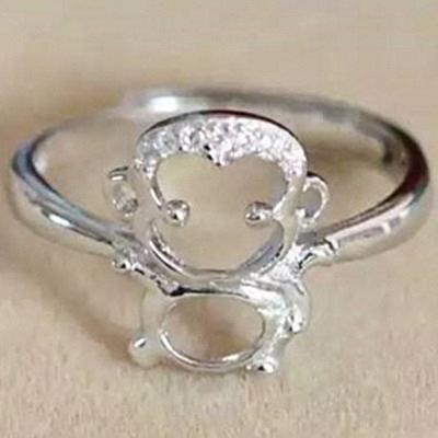 925純銀戒指鑲鑽-生日母親節禮物小猴子造型可愛迷人流行女飾品73ae52【巴黎精品】