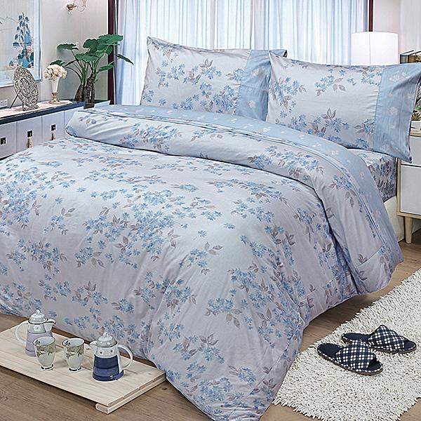 FITNESS 精梳棉雙人四件式兩用被床包組 花妍戀曲 藍
