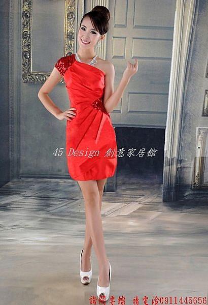 (45 Design) 定做 預購7天到貨  2014新款明星款伴娘婚紗短款禮服敬酒結婚小禮服裙晚宴女包臀修身