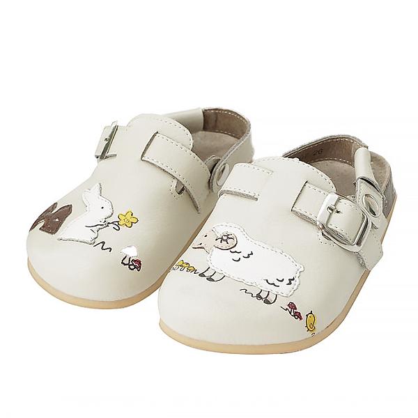 【Jingle】兔兔農場前包後空軟木休閒鞋(百搭米甜美粉大人款)