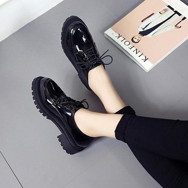 ins英倫風小皮鞋女秋款韓版百搭新款粗跟黑色繫帶亮皮工作鞋