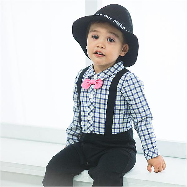 長袖連身衣 假吊帶 紳士 細格紋 爬服 哈衣 男寶寶 小紳士 小花童 Augelute Baby 60333