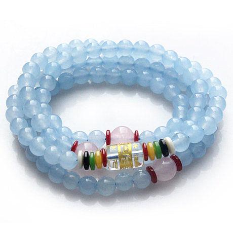 水晶藍玉髓108顆佛珠手鏈