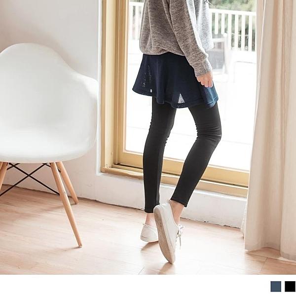 《BA4626-》台灣製造.保暖內刷毛假兩件素色褲裙 OB嚴選