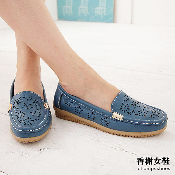 包鞋 真皮藝術雕花透氣舒適懶人鞋 香榭