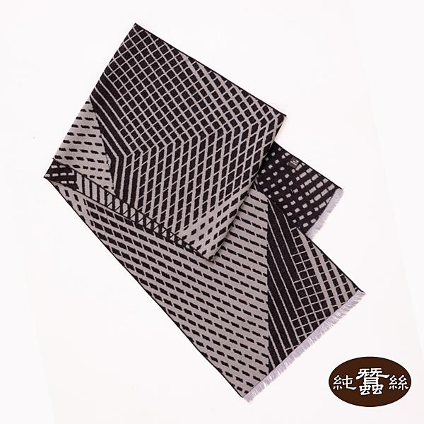 【岱妮蠶絲】純蠶絲保暖刷毛圍巾(灰菱格紋)