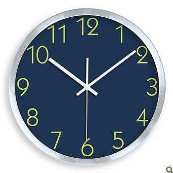 靜音創意掛鐘/表 時鐘 宜家簡約藍色