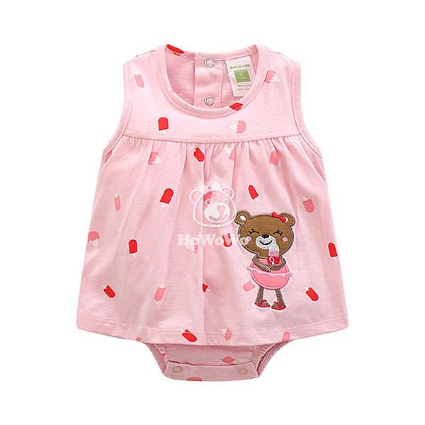 超低折扣NG商品~無袖包屁衣 女童粉色款裙連身衣 CAB4302 好娃娃