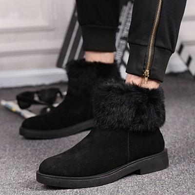 雪靴-冷酷黑色韓風超暖中筒男靴子72af34[巴黎精品]