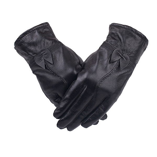 真皮手套-羊皮保暖蝴蝶結優雅黑色女手套73wf11[巴黎精品]
