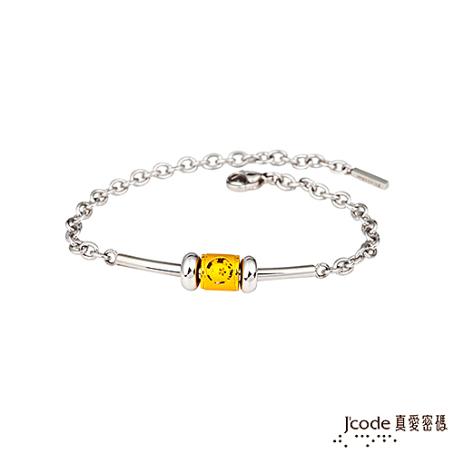 J'code真愛密碼 豬(亥)招貴人黃金/白鋼手鍊