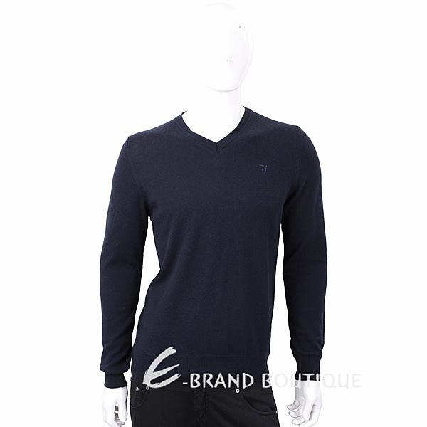 TRUSSARDI T字刺繡細節深藍色針織羊毛衫 1710636-34