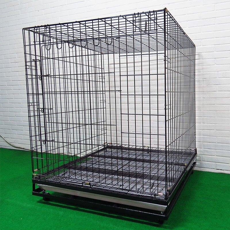 狗籠 狼犬籠 犬用防護運輸籠 抗菌底盤大型犬寵物籠  全新底部加強 摺疊3x3尺靜電粉體烤漆鐵線雙開籠 空間特工