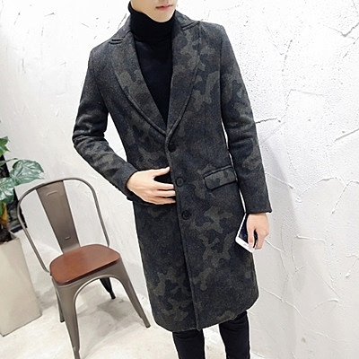 風衣外套-時尚修身英倫氣質毛呢中長版迷彩男大衣73ip58[時尚巴黎]
