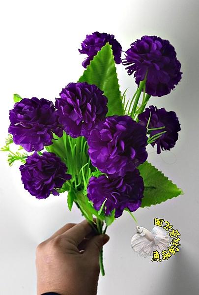 [仿真 深紫色 9頭球菊 假富貴菊花束] ☆婚禮佈置.插花.居家.店面.櫥窗擺飾.園藝☆