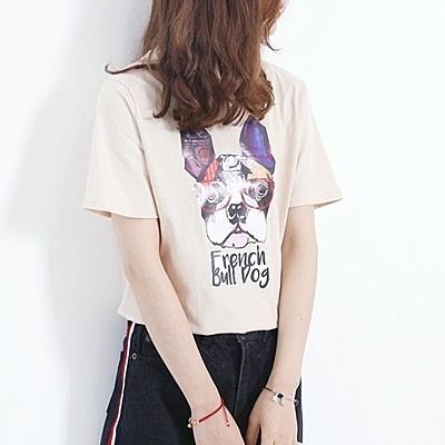 短袖T恤-小狗時尚清新俏皮休閒女上衣2色73sy1[巴黎精品]