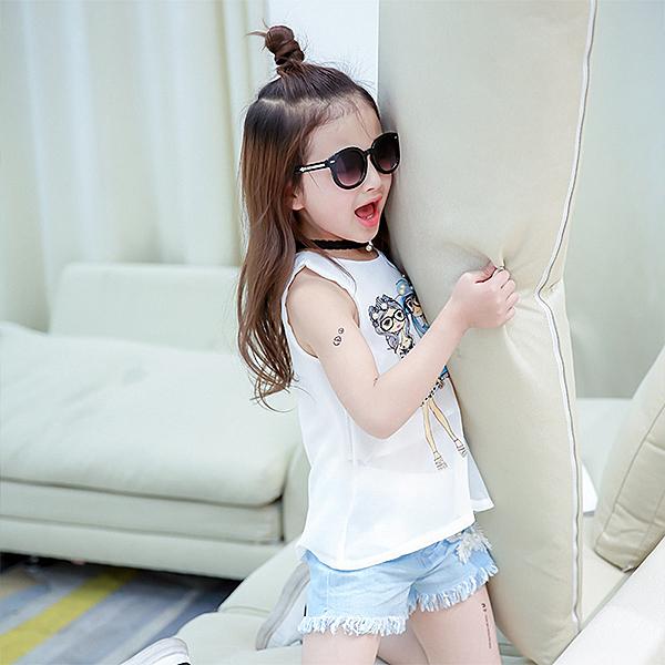女童套裝 雪紡無袖背心+牛仔短褲 MS5077好娃娃