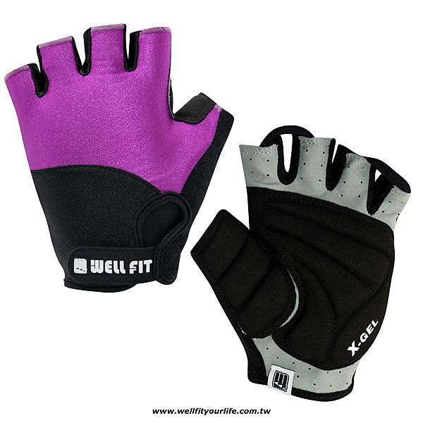 [WELL FIT 威飛客] X-GEL超防震 麂皮 登山自行車手套 - 紫色