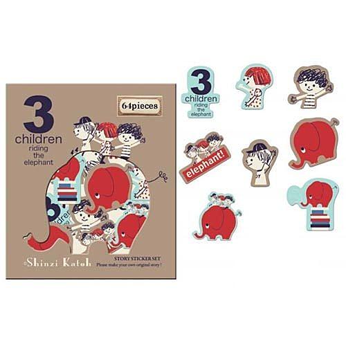 《Shinzi Katoh 加藤真治》三個小孩散裝貼紙64枚★funbox生活用品★_ZI02601