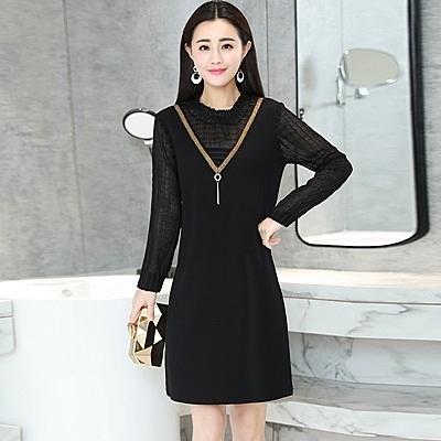 洋裝-長袖春季圓領直筒寬鬆女連身裙2色73ri26【巴黎精品】