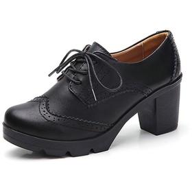 [ヤク] レディース マーチンシューズ カジュアルシューズ 靴 厚底 シューズ 前厚 26.5cm おじ靴 女性 学院風 編み上げ イギリス風 おしゃれ ラウンドトゥ 軽量 ブラック 防水 歩きやすい オックスフォード レースアップシューズ パンプス