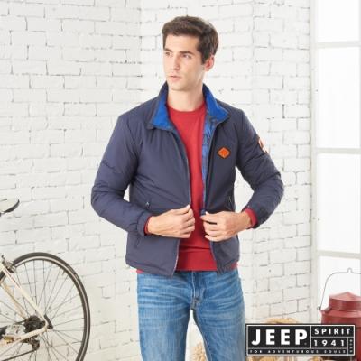JEEP收納式保暖輕羽絨外套 -深藍
