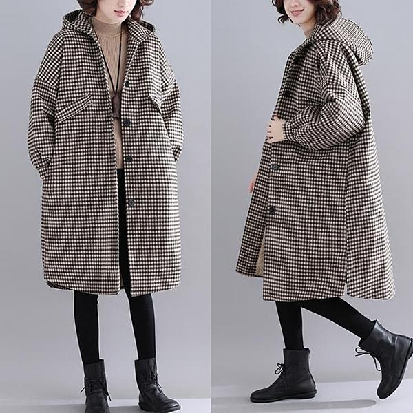 加厚格子毛呢外套女 冬新款文藝寬鬆大尺碼保暖中長款斗篷型呢子大衣 萬聖節鉅惠