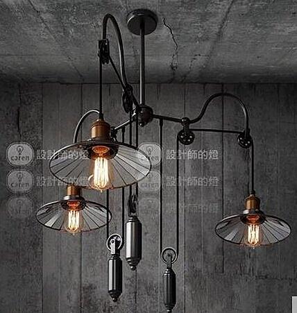 設計師美術精品館設計師的燈Loft餐廳吧台美式鄉村工業風創意三叉升降伸縮貼鏡吊燈