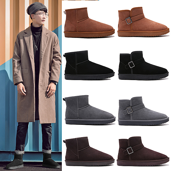 雪地靴男冬季保暖加絨加厚防滑防水面包鞋真皮東北馬丁靴子棉鞋女
