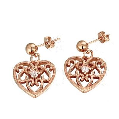 耳環 玫瑰金純銀 鑲鑽-心鎖造型生日情人節禮物女飾品2色73bu32【時尚巴黎】