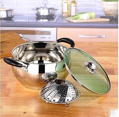 幸福居*湯鍋火鍋不鏽鋼加厚複底湯鍋無塗層多功能奶鍋煮鍋燃氣電磁爐通用(22cm加厚複底)