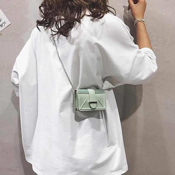 夏天迷你小包包女包新款純色百搭鍊條單肩斜挎包個性小方包潮