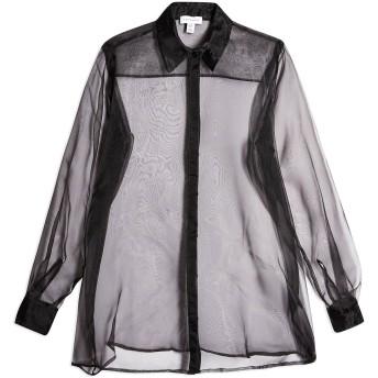 《セール開催中》TOPSHOP レディース シャツ ブラック 6 ポリエステル 100% BLACK SHEER ORGANZA SHIRT