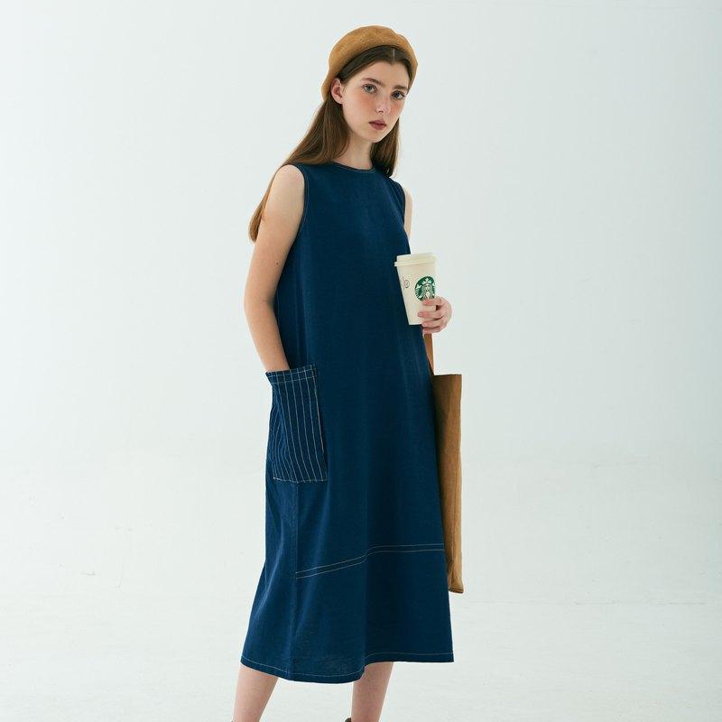 藏藍背心裙|牛仔藍背心裙|直身連衣裙|休閒運動|百搭耐穿日系洋裝