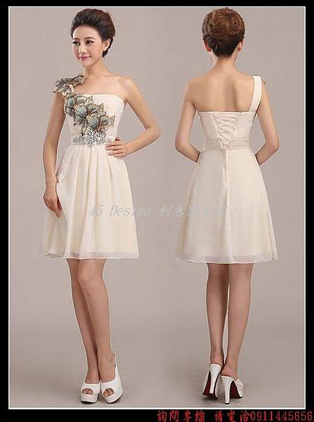 (45 Design定做款)  客製化7天到貨  花朵元素韓版禮服敬酒服新娘禮服單肩長款短裙修身演出晚禮服