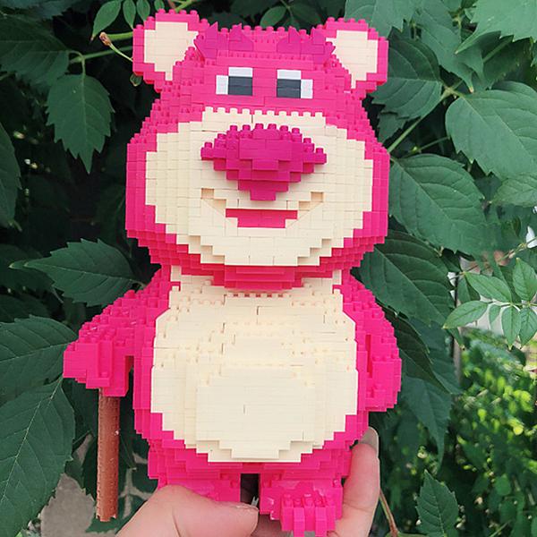 積木玩具 小顆粒拼裝迷你微型拼插益智玩具卡通草莓熊【聚寶屋】