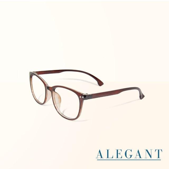 【ALEGANT】簡約造型輕量亮棕方框UV400濾藍光眼鏡