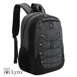 【Lynx】細條紋系列輕盈防潑水尼龍後背包(可放筆電 可放平板)