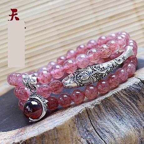 草莓晶 泰銀彎管魚多圈手串