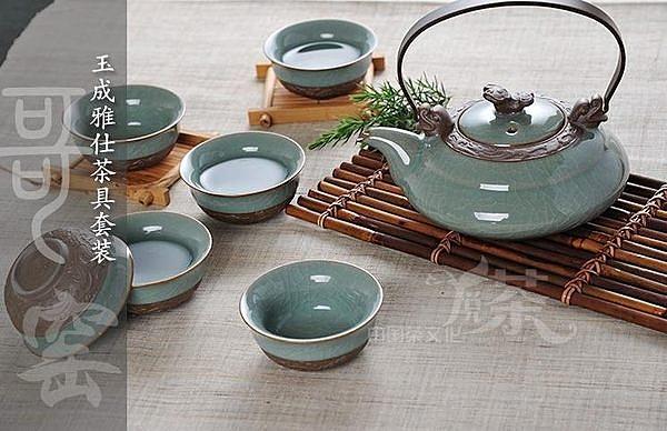 哥窯陶瓷  大茶壺開片冰裂茶具