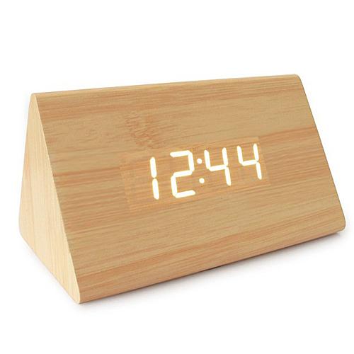 LED木製時尚三角型鬧鐘TW-67886788【愛買】