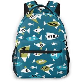 バックパック 魚柄 Pcリュック ビジネスリュック バッグ 防水バックパック 多機能 通学 出張 旅行用デイパック
