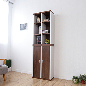 【Accessco】一加一組合日系雙色12格附門厚板收納書櫃(胡桃白)