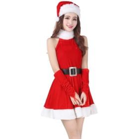 サンタ アメリカンスリーブ ミニ ワンピース 手袋 ベルト 帽子 コスチューム セット クリスマス パーティ ドレス レディース フリーサイズ